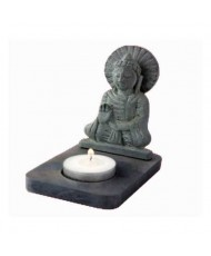 portacandele Buddha in pietra saponaria