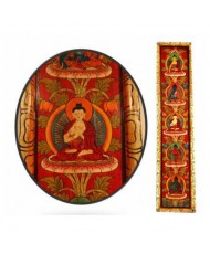 Pannello 5 Buddha dipinto a mano